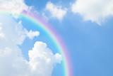 Fototapeta Rainbow - Blue sky cloud with rainbow