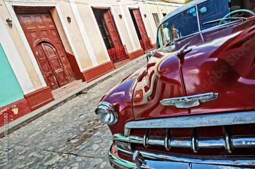 Cuba, Trinidad, Vintage Car Canvas