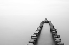 Old Wooden Breakwater At The Beach, Black And White, Long Time Exposure, German Baltic Sea Coast, Europe