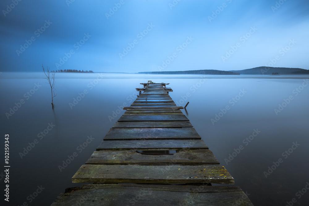 Fototapeta old wooden pier
