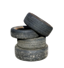 Old Tires Stacked, Isolated On...