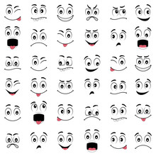Cartoon Faces With Different Emotions