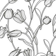 Vector floral seamless pattern. Black and white background with