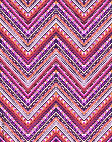 Foto auf AluDibond Boho-Stil zigzag stripe print ~ seamless background