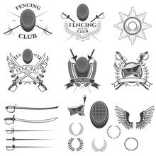 Set Of Fencing Club Labels