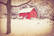 Vintage Style Image Of Rural Red Barn With Snow. This Image Has Retro Texture Effect.