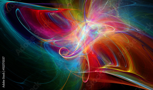 Deurstickers Fractal waves Abstract fractal background