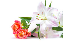 White-pink Lilies And Three Re...