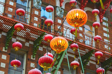 Beautiful Red Chinese Lanterns In Chinatown Of San Francisco