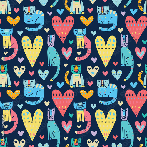 Aufkleber - Cats and love, love and cats. Funny colorful vector seamless pat