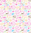 Hand drawn sweets and candies pattern. Vector doodles. Isolated food on white background. Seamless texture.