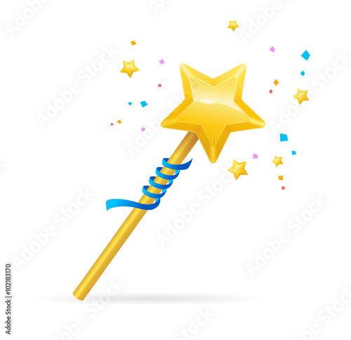 Fotografie, Obraz  Magic Wand with Shining Star. Vector