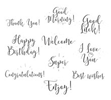 Good Luck, Enjoy, Happy Birthday. Set Of Modern Calligraphy And Hand Drawn Elements. Typographical Concept. Usable For Cards, Posters, Photo Overlay.