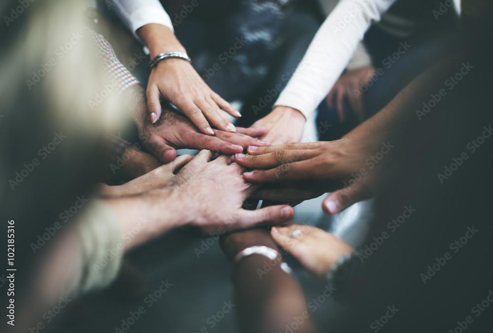 Fototapeta Teamwork Join Hands Support Together Concept