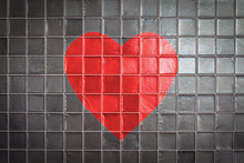 Red Heart On Tiles Wall