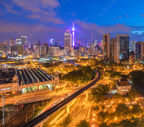 Foto op Canvas Brazilië beautiful sunrise at Kuala Lumpur city centre