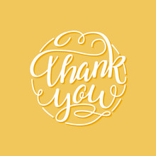 Thank You Hand Written Flourish Lettering For Greeting Card