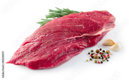 Staande foto Vlees Slice of raw beef steak isolated on white background