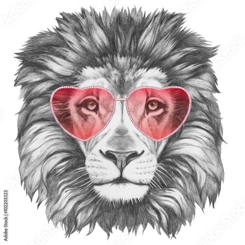 zakochany-lew-portret-lwa-z-serca-w-ksztalcie-okulary-recznie-rysowane-ilustracji