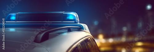 Fotografía  Coche de policía en la ciudad