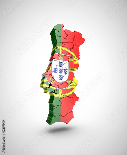 Fotografia  Map of Portugal on a gray background