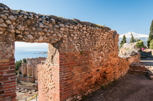 Section Of The Upper Perimetral Wall Of The Greek Theater And Its Stage And Mount Etna In The Background
