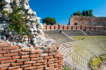 Section Of The Upper Perimetral Arcade Of The Greek Theater Of Taormina, Sicily, With A Partial View Of The Bleachers