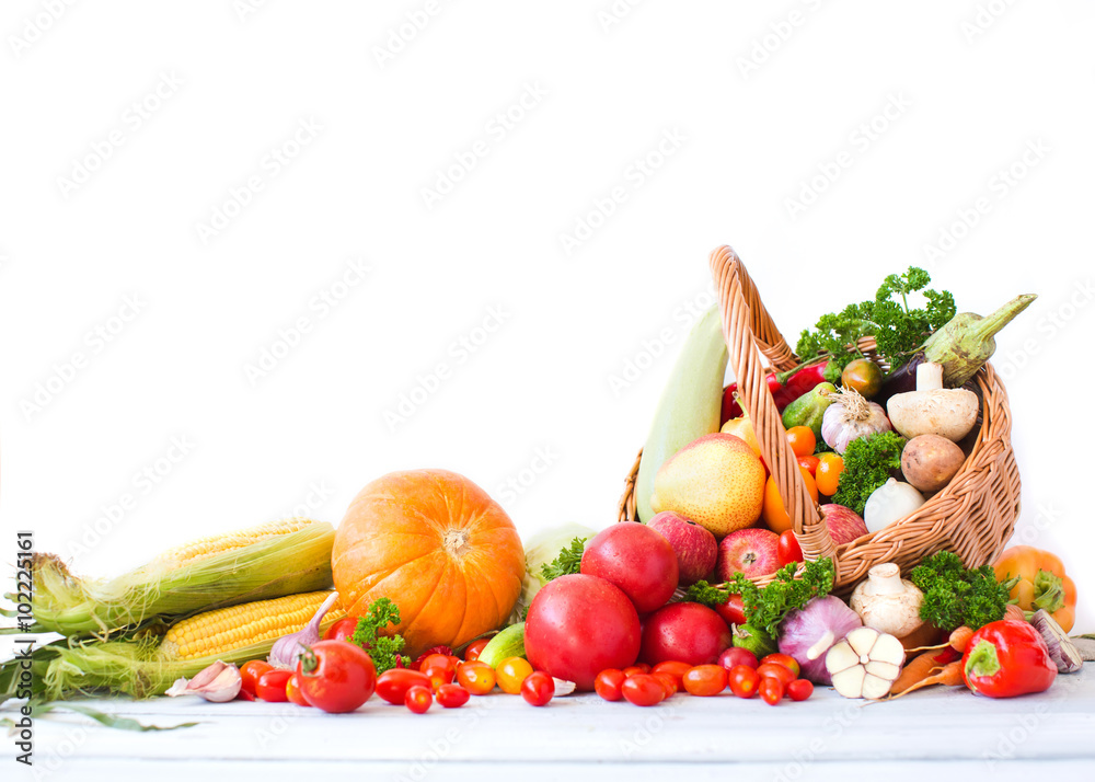 fruits and vegetables pile.
