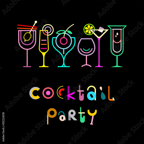 Canvas Prints Abstract Art Cocktail Party Poster