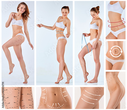 Fototapeta Collage of female body with the drawing arrows obraz na płótnie