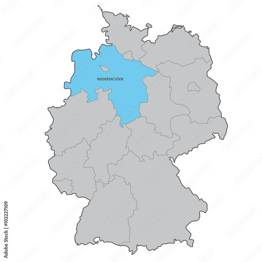 Wall Murals Deutschland Bundesland Niedersachsen Karte Vektor