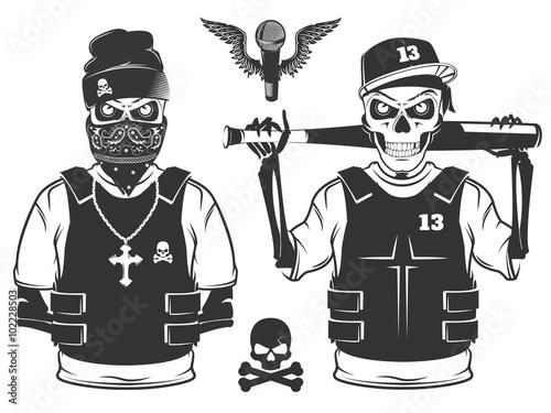 Fotografie, Obraz  Set of rap skull and hip hop skeleton black and white style