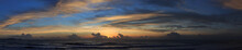 Panoramic Image, Beautiful Sunset Sky With Colorful Clouds