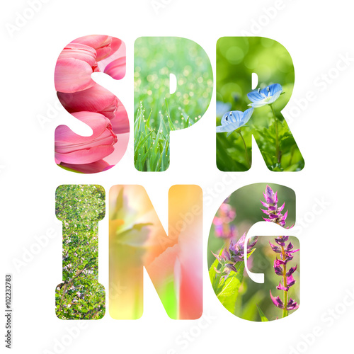 Poster Printemps Word Spring with colorful nature images inside the letters