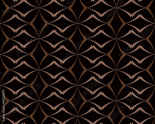Seamless Geometric Abstract Pattern Diagonal Rhomb Shaped Braiding Figure Texture Unusual Rhombus Bands Lines On Dark Background Brown Contrast Color