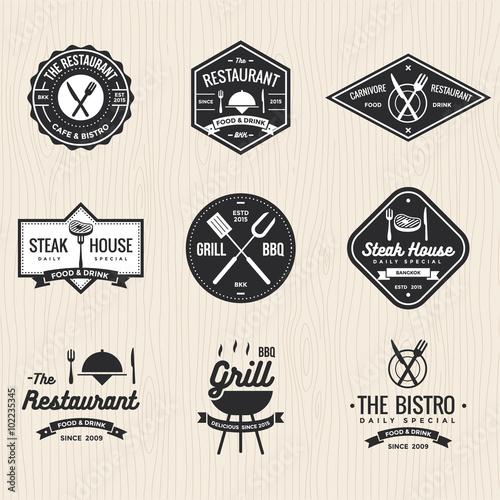 Set Of Badges Labels And Logos For Restaurant Foods Shop