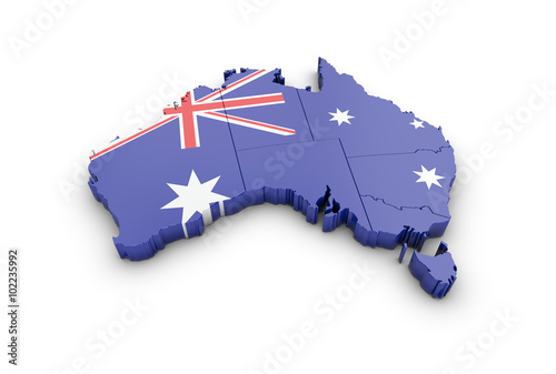 Map of Australia on a white background. Image contains clipping Canvas Print