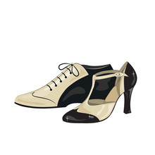 Elegant Women's  And Men's Shoes. Argentine Tango Dance Shoes. Vector Illustration, Isolated On White Background.