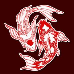 Naklejka Style koi fish; ying yang symbol