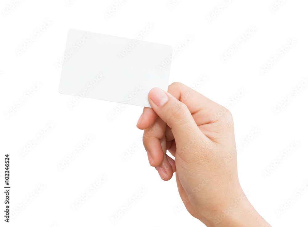 Fototapeta female hand holding blank card isolated clipping path in image d