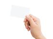 Leinwandbild Motiv female hand holding blank card isolated clipping path in image d