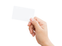Female Hand Holding Blank Card...