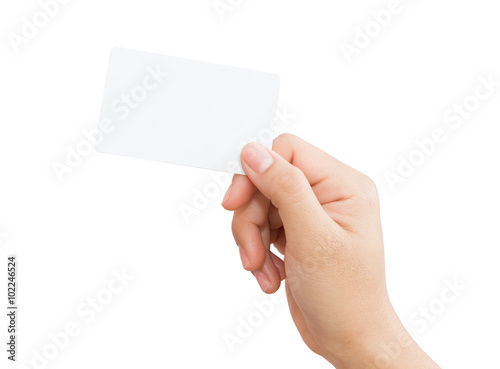 Fotografering  female hand holding blank card isolated clipping path in image d