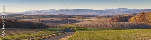 Fototapeta Beautiful autumn panorama of Karkonosze mountains in Poland obraz