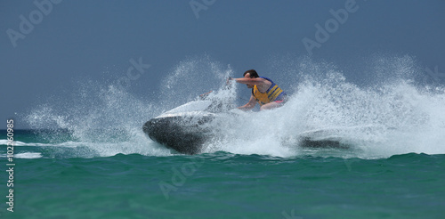 Poster Water Motor sports man drive on the jetski
