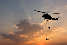 Helicopter, Soldiers Rescue He...