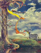 The Illustration Shows Romantic Relations Between A Giraffe And A Zebra