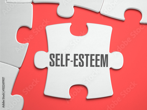Fotografie, Obraz  Self-Esteem - Text on Puzzle on the Place of Missing Pieces