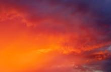Fiery Colorful Sunset Sky. Bea...