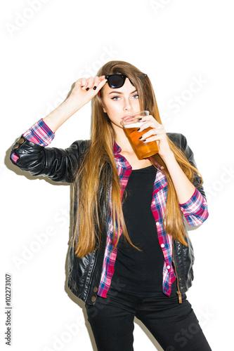Modern Cool Blonde Teenage Girl Drinking Beer